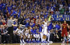 """Kansas guard Ben McLemore holsters his three-point """"gun"""" after being fouled by Iowa State guard ~ 1.9.13"""