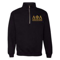 379fc794bb5ee Alpha Phi Alpha Embroidered Quarter-Zip Sweatshirt - Letters Greek Apparel  - Black Greek Paraphernalia