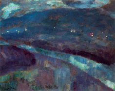 Night in the Bidasoa River Daniel Vazquez Diaz 1917 Private collection Painting - oil on canvas