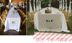 Adding a simple monogram to a burlap runner makes your event look so pulled together.