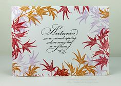 A Kept Life used Serendipity Stamps' Autumn Is and Japanese Maple rubber stamps to create her card.