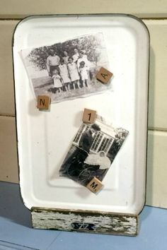 Create a repurposed enamelware photo and memo display using a vintage piece and a DIY chippy stand. Homeroad.net #chippy #enamelware #office #photodisplay #memoboard #repurposed #vintage