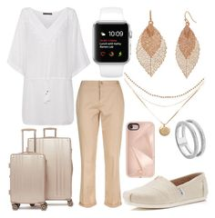 """Magnolia's plane outfit"" by fashionandfriends on Polyvore featuring ViX, Escada Sport, CalPak, Bold Elements, Monica Vinader, TOMS and Rebecca Minkoff"