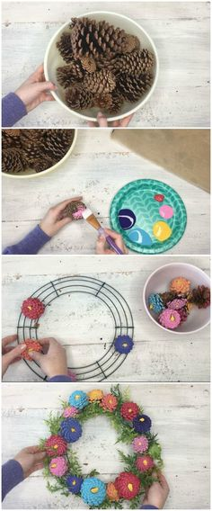 Pinecone Zinnia Wreath - if you have an overabundance of pinecones and want to make something pretty for spring or summer, this is a fun idea! Informations About Pinecone Zinnia Wreath Pin You can eas Pine Cone Art, Pine Cone Crafts, Pine Cones, Pine Cone Wreath, Summer Diy, Summer Crafts, Diy Craft Projects, Diy Crafts, Felt Crafts