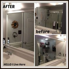 Have you ever wanted to complete framing bathroom mirrors projects? Stop by Hello I Live Here and see how they did a framing bathroom mirrors in their home. Large Bathroom Mirrors, Large Bathrooms, Small Bathroom, Bathroom Ideas, Wall Mirrors, Bath Ideas, Modern House Plans, Small House Plans, Vintage Home Decor