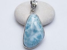 NEW DOMINICAN AA MARBLED FREE-SHAPED LARIMAR STONE .925 SILVER PENDANT JEWELRY #DominicanLarimarStone
