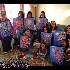 【xsartistry】さんのInstagramをピンしています。 《All done!  Look at all the great paintings Create-A-Paint by XSArtistry  Looking for something fun, creative, and unique for your next event, girls night out, or corporate team building?  Book XSArtistry for a 2 1/2 - 3 hour Create-A-Paint experience! We bring EVERYTHING to you! We walk you through step by step instructions and at the end you have a wonderful piece of art to take with you. No prior art experience is needed, no one is too young or old to…