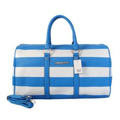 Michael Kors Striped Travel Medium Blue White Satchels