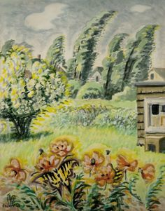 CHARLES BURCHFIELD Butterfly and Poppies (1950-66)