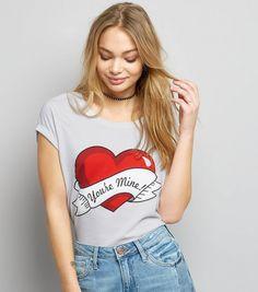 White You're Mine Tattoo Heart Print T-Shirt | New Look