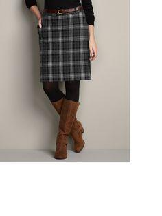 Slightly Curvy Mercer Plaid Wool-Blend Skirt | Eddie Bauer