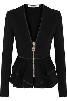 Givenchy Ruffled peplum jacket in black stretch-scuba jersey