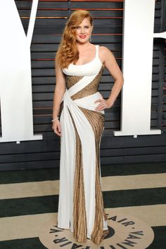 Amy Adams in Versace at the 2016 Vanity Fair Oscar Party at the Wallis Annenberg Center for the Performing Arts on February 28, 2016.
