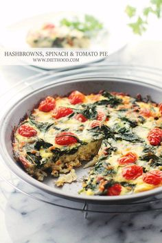 ... pie is made with a pre-shredded potato crust, fresh spinach, tomatoes