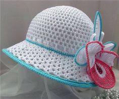 Hats Crochet Patterns Part 3 - Beautiful Crochet Patterns and Knitting Patterns Beau Crochet, Bonnet Crochet, Knit Or Crochet, Crochet For Kids, Crochet Crafts, Crochet Solo, Free Crochet, Flower Crochet, Crochet Summer Hats