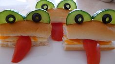Frog Subs with cucumber olive eyes and red bell pepper tongue