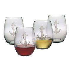 Bring this beautiful Anchor designed stemless wine glass set to you coastal dining table. Nautical Bathroom Design Ideas, Nautical Bathrooms, Nautical Home, Nautical Wedding, Unfinished Wood Furniture, Wicker Table, Wine Glass Set, Stemless Wine Glasses, Dream Decor
