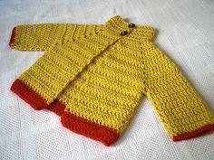 Everyday is a New Sweater Day FREE crochet pattern by Rima Aranha - baby cardigan (hva) Crochet Baby Sweaters, Crochet Jumper, Crochet Cardigan Pattern, Crochet Bebe, Crochet Baby Clothes, Crochet For Boys, Baby Knitting, Knit Crochet, Free Crochet