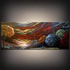 HUGE abstract tree painting original painting canvas by mattsart, $275.00