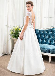 20e115c2d5d8 A-Line/Princess Scoop Neck Floor-Length Taffeta Charmeuse Lace Wedding  Dress With
