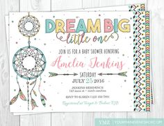 Dreamcatcher Baby Shower Invitation • Boho Tribal Dream Catcher Baby Shower Invite Printable • Dream Big Little One Star Baby Shower