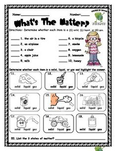 Free Solid Liquid Gas ( Phases of Matter ) Worksheet