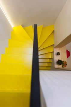 Timber Staircase, Painted Stairs, Architecture, Colorful Interiors, Projects To Try, Table Lamp, Interior Design, Yellow, Mustard