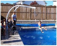 New xtreme slide n glide inground swimming pool above ground deck zip line Above Ground Pool Slide, In Ground Pools, Diy Pool, Pool Fun, Pool Accessories, Dream Pools, Pool Slides, Deck Slide, Cool Pools