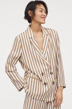 Double-breasted jacket in a soft weave made from a viscose blend with narrow notch lapels, welt front pockets and tape-trimmed inner seams. Double Breasted Jacket, Striped Blazer, World Of Fashion, Fashion Online, Fashion Company, Blazers For Women, Her Style, Everyday Fashion, Stylish Outfits