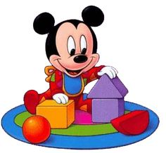 Baby Mickey playing with blocks Mickey Mouse And Friends, Disney Mickey Mouse, Minnie Mouse, Baby Disney Characters, Cartoon Characters, Disney Clipart, Mikey Mouse, Chip Art, Baby Mickey