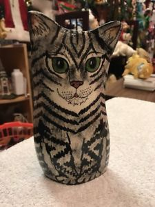Cat Ceramic Vase Black Grey Stripe With Green Eyes Cats By Nina  | eBay