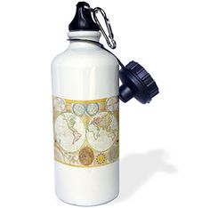 3dRose wb_171761_1 image of first map of hemisphere and solar system Sports Water Bottle 21 oz White >>> Click on the image for additional details.