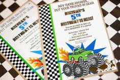 MONSTER Truck Invitation - Monster Truck Party - Monster Truck Birthday - Amanda's Parties TO GO. $14.00, via Etsy.