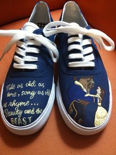 Beauty and the Beast Inspired Shoes by HandPainted29 on Etsy, $40.00