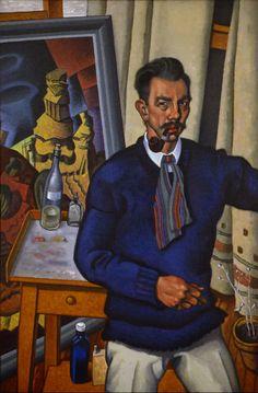 Self Portrait    50x33 inches, oil    by Raymond Jonson