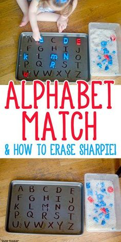 Alphabet Matching Activity Easy Alphabet Matching Activity - Check out this quick and easy toddler activity!Easy Alphabet Matching Activity - Check out this quick and easy toddler activity! Indoor Activities For Toddlers, Toddler Learning Activities, Preschool Learning Activities, Letter Activities, Kids Learning, Learning Spanish, Teaching Resources, Diy Educational Toys For Toddlers, Cookie Sheet Activities