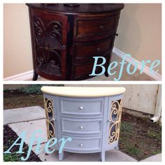 Modern day furniture upcycled from a dark and dreary entry piece to a bright and lively shabby chic piece. Annie Sloan Paris grey and Arles used. Another great piece refurbished by Uniqueantweaks