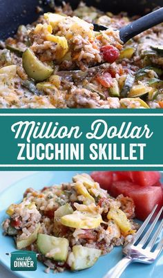 Million Dollar Zucchini Skillet - Real Life Dinner - An instant favorite! This zucchini, Italian sausage, fire roasted tomatoes, rice and veggie skillet - Pork Recipes, Veggie Recipes, Cooking Recipes, Healthy Recipes, Skillet Recipes, Skillet Meals, Recipies, Crockpot Ground Turkey Recipes, Healthy Hamburger Recipes