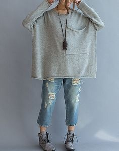 Large pocket sweater loose casual sweater Women by qinbailiang ooh if I only had the patience to knit so thin!!