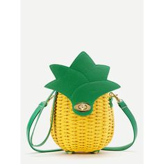 Pineapple Shaped Straw Crossbody Bag ❤ liked on Polyvore featuring bags, handbags, shoulder bags, straw crossbody, white cross body handbag, white handbags, white cross body purse and white purse