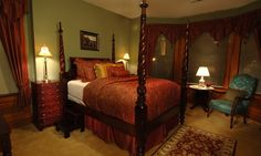 Beds | The Reservoir Park Room at The Fleur-de-Lys Mansion, Luxury Inn at the Park located in Saint Louis, MO.