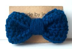 Crocheted Hair Bow  Navy  Buy 3 get 1 FREE by jewlswashere on Etsy, $4.95