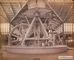 The Corliss Engine was exhibited at the Centennial Exhibition, 1876 in Machinery Hall.