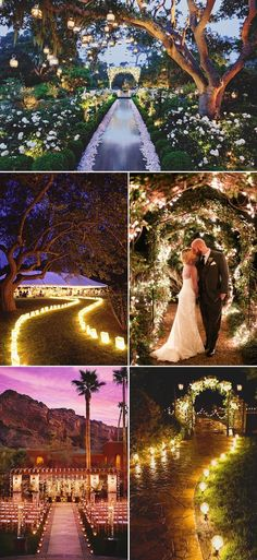 35 Excellent Dreamy Secret Garden Wedding Ideas with Invitations--Night time wedding entrance with fairytale lights, diy wedding decorations perfect for outdoor spring and summer weddings