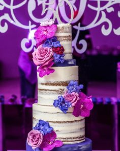 Our client asked for a naked cake and I was hesitant being the event colors were so bold. However added some purple mid tiers… Balloon Arch, Balloons, Shades Of Purple, Dessert Table, Baby Boy Shower, Naked, Birthday Parties, Photo And Video, Party Ideas