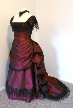 Victorian Bustled Style Burgundy Taffeta Ball Gown