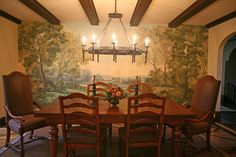 """This small dining room in a traditional 1930s Tudor home becomes pleasantly intimate with the addition of a mural. Try our focal wall """"Somerset"""" mural wallpaper for a similar look, available by special order."""