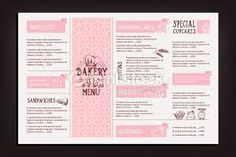 Illustration of Restaurant cafe menu, template design. Bakery Menu, Cafe Menu, Sandwiches, Leaflet Design, Cupcakes, Clip Art, Leaflets, Restaurant, Templates