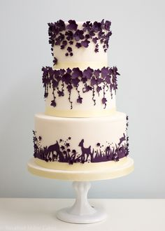 "rosalindmillercakes: "" Enchanted Forest Purple Wedding Cake """