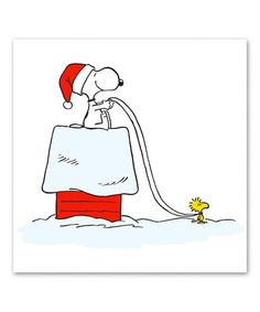 This Snoopy & Woodstock Sleigh Gallery-Wrapped Canvas is perfect! #zulilyfinds